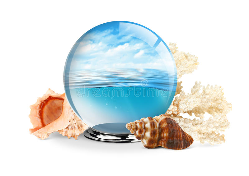 Sea in the glass ball with shell and coral on white background,. Sea in the glass ball with shell and coral on white, travel concept stock images