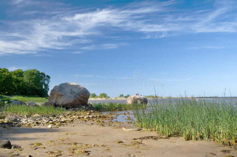 Sea, grass and a blue sky royalty free stock photography