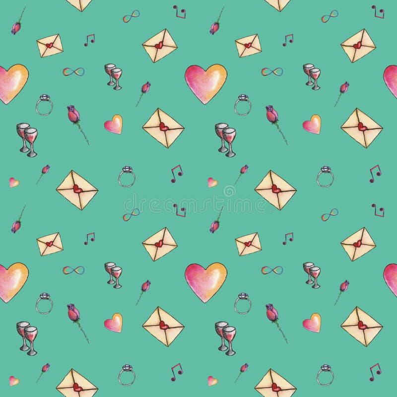 Sea-green cute cartoon valentine pattern stock photo