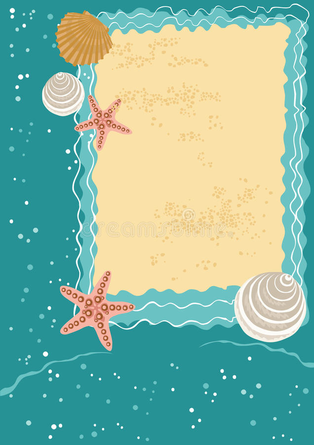 Download Sea Greeting Card stock vector. Image of beach, spiral - 10056977