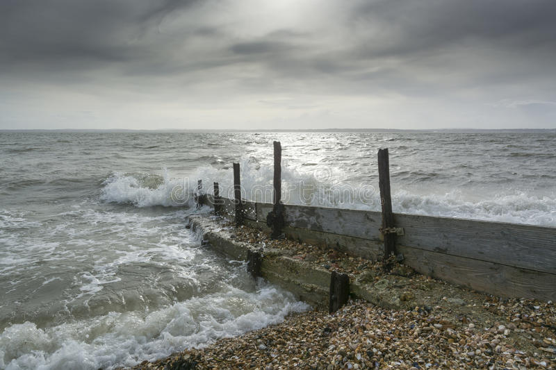 Sea groynes at Lee on the Solent UK royalty free stock photo