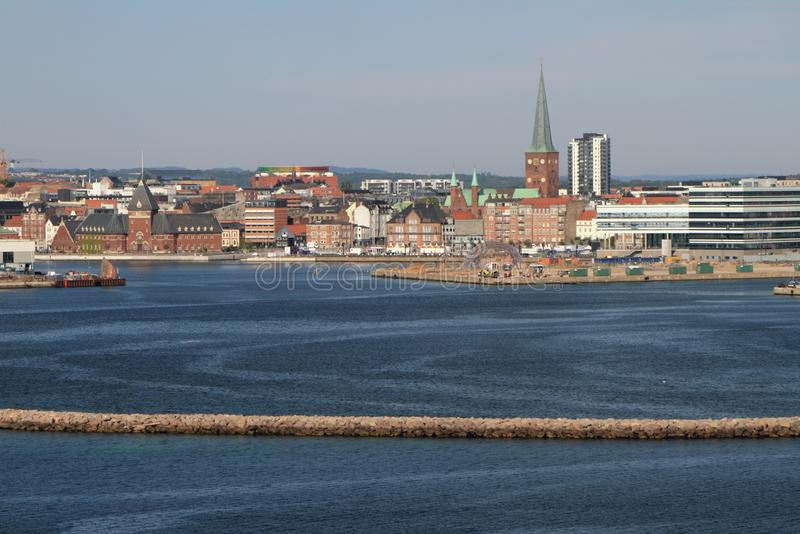 Sea gulf and city. Aarhus, Jutland, Denmark. 2018-07-12 stock photos