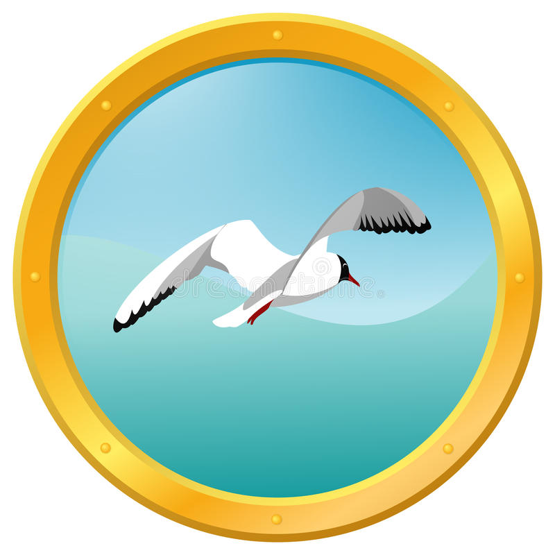 Sea gull. On a blue wavy background, surrounded by a porthole stock illustration