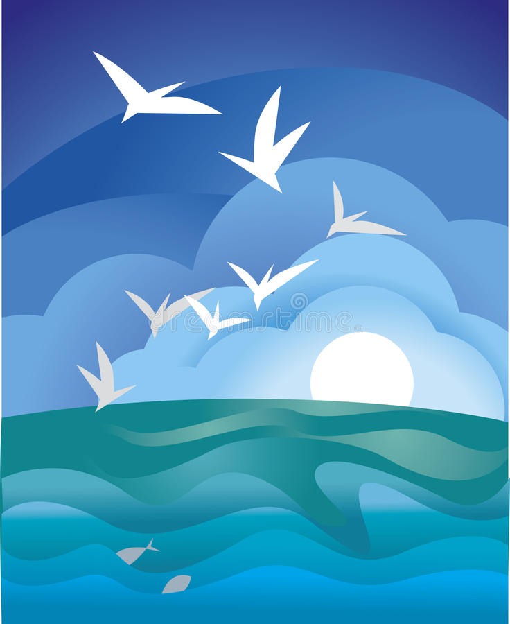Download Sea gull stock vector. Image of wave, clouds, blue, dawn - 22945871