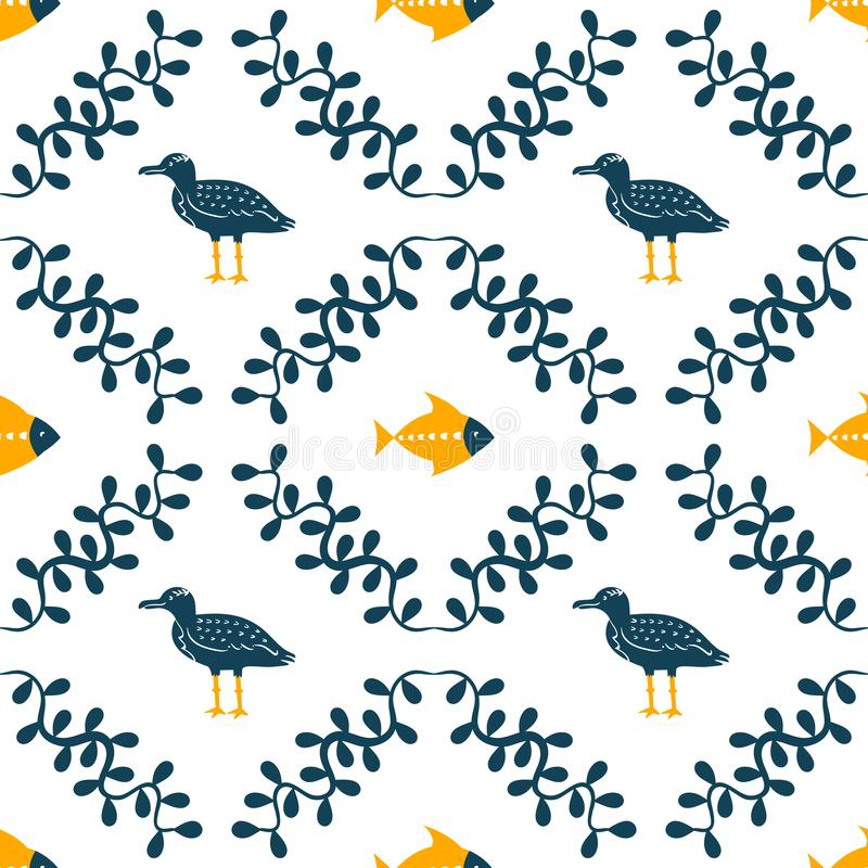 Sea gull, fish and floral water plant simple styling print. Two color. Print for kids t-shirt and sea style souvenirs stock illustration