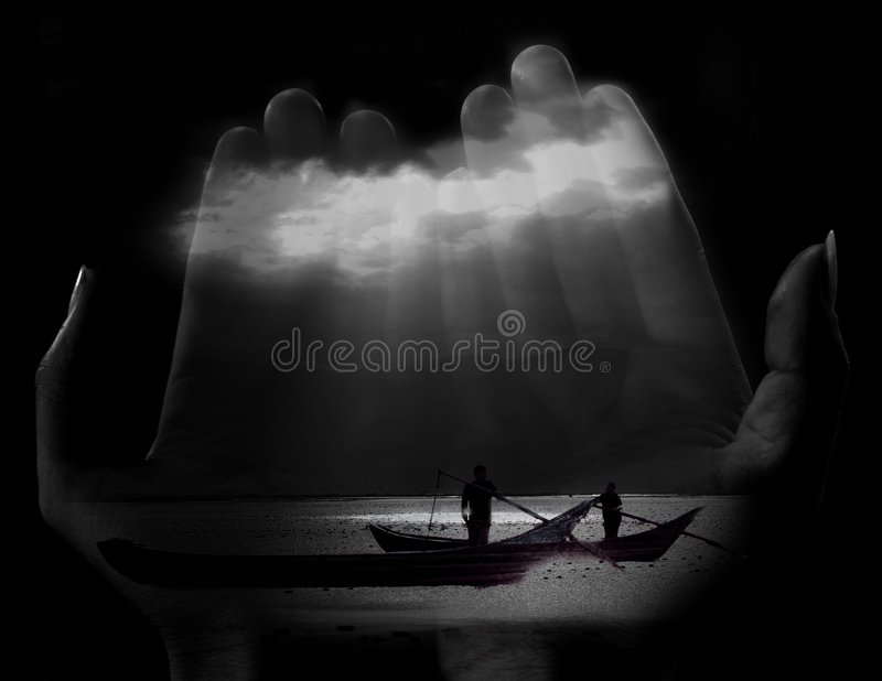 Sea in hand royalty free stock photo