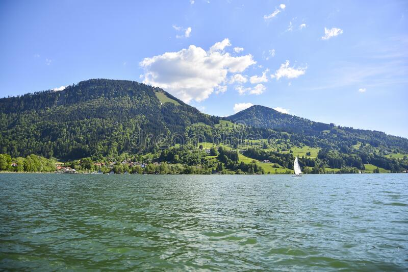 Sea Harbour Bay Summer Mountains Water boat trip. Sea Harbour Bay Summer Mountains Water ship boat stock image