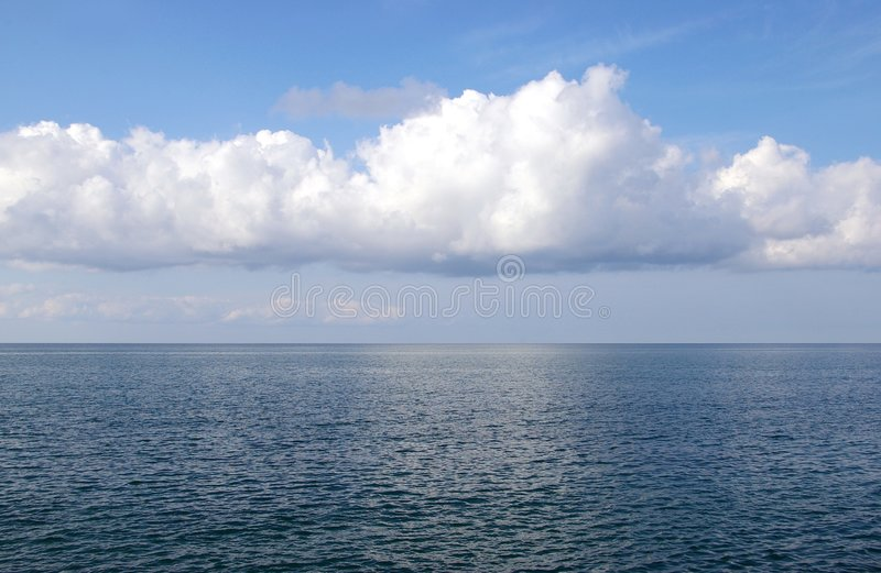 The Sea horizon. Sea and celestial landscape in blue tone, line of the horizon stock photography