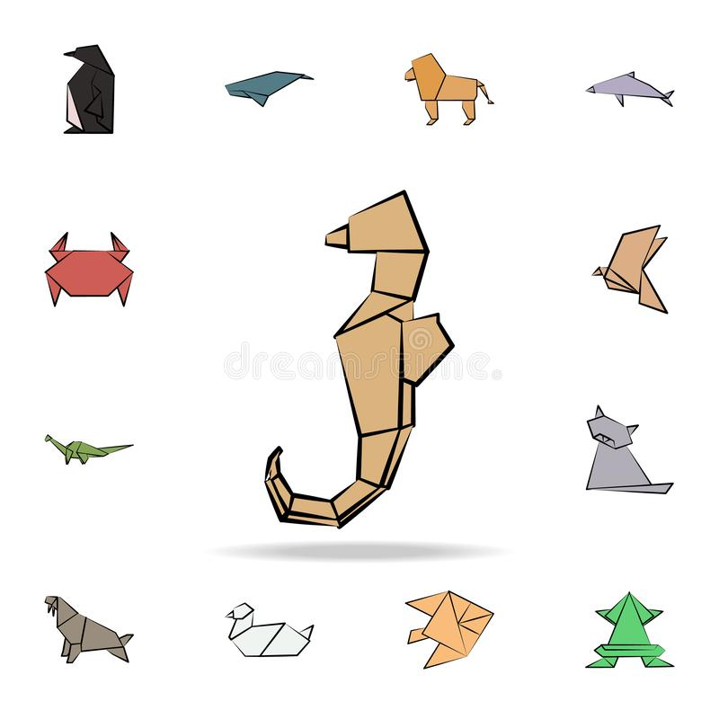 sea Horse colored origami icon. Detailed set of origami animal in hand drawn style icons. Premium graphic design. One of the vector illustration