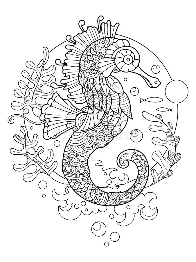 Sea horse coloring book for adults. Illustration. Anti-stress coloring for adult. Tattoo stencil. Zentangle style. Black and white lines. Lace pattern vector illustration