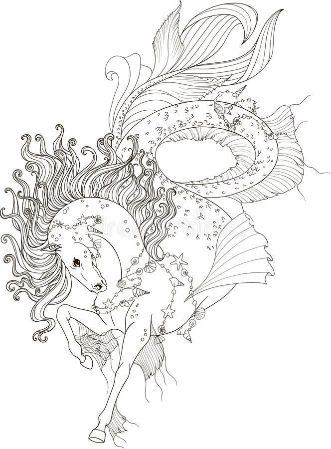 Stylized illustration of sea horse with flying mane for adult coloring pages stock illustration