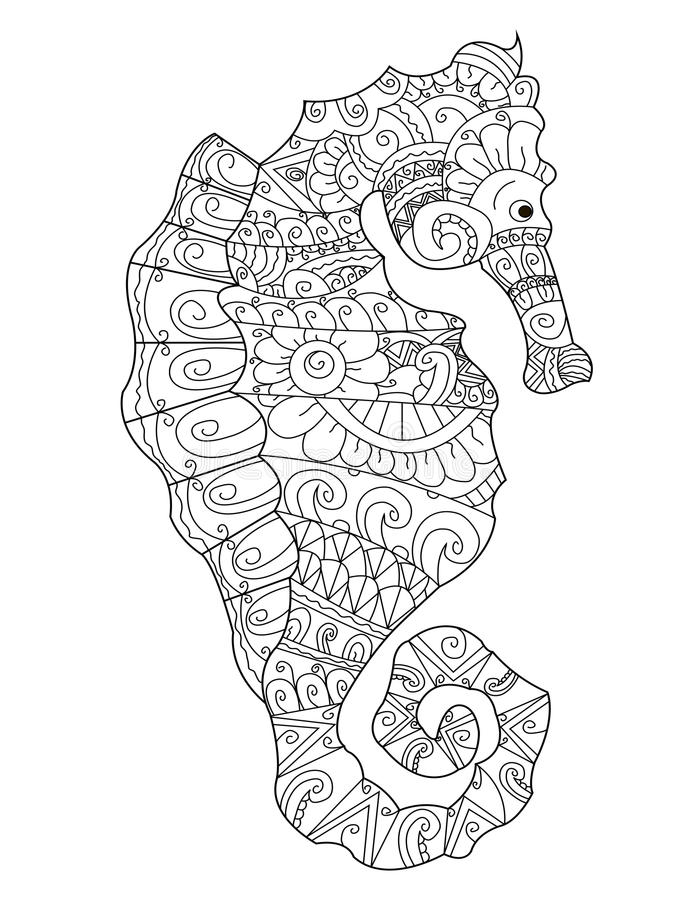 Sea horse coloring vector for adults. Sea horse coloring book for adults vector illustration. Anti-stress coloring for adult. Zentangle style. Black and white vector illustration