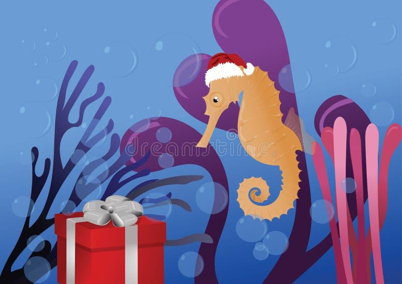 Sea horse happy new year royalty free stock photo