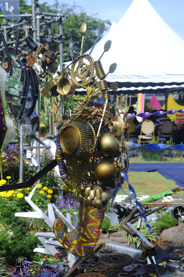Sea horse sculpture made from recycled materials. PUTRAJAYA, MALAYSIA -MAY 30, 2016: Sea horse sculpture made from discarded and recycled materials royalty free stock image