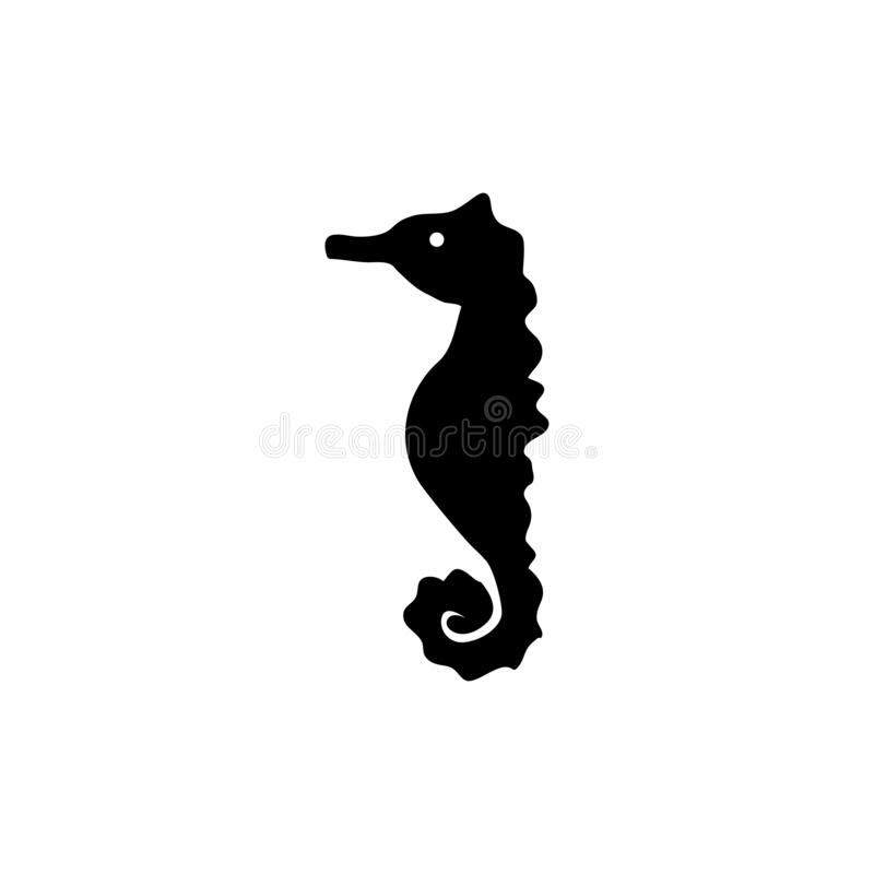 Sea Horse Silhouette, undervattensdjur Ikonillustration av platta vektorer Enkel svart symbol på vit bakgrund Sea Horse royaltyfria bilder