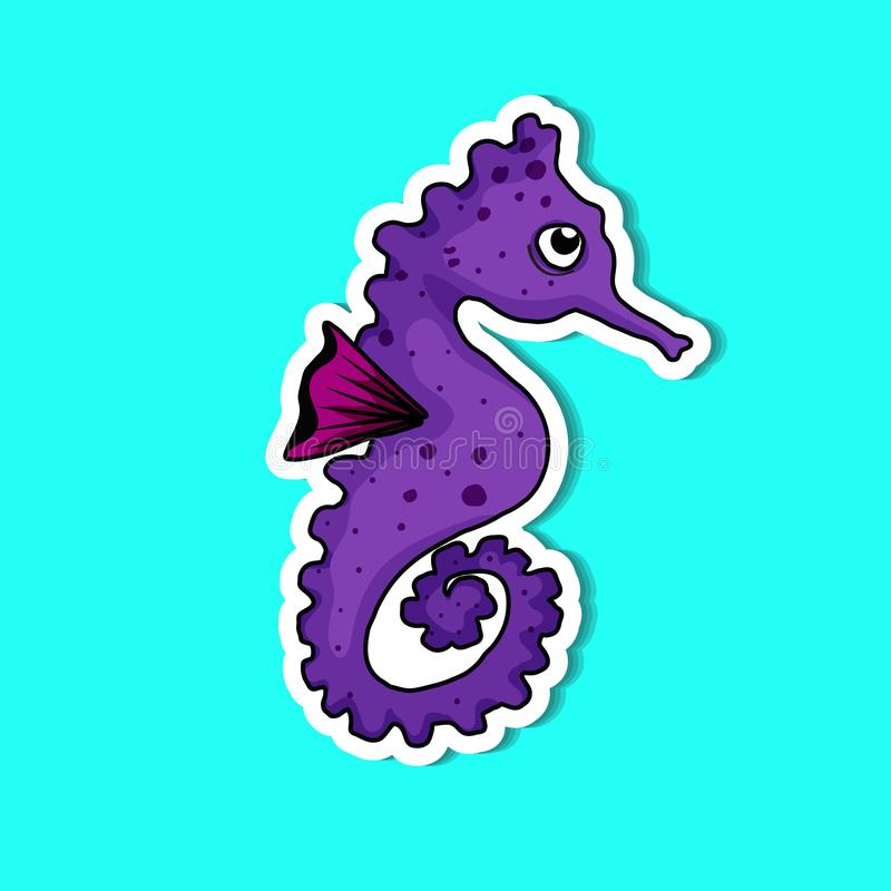 Sea horse so cute. Sea horse of simple color illustrations vector illustration