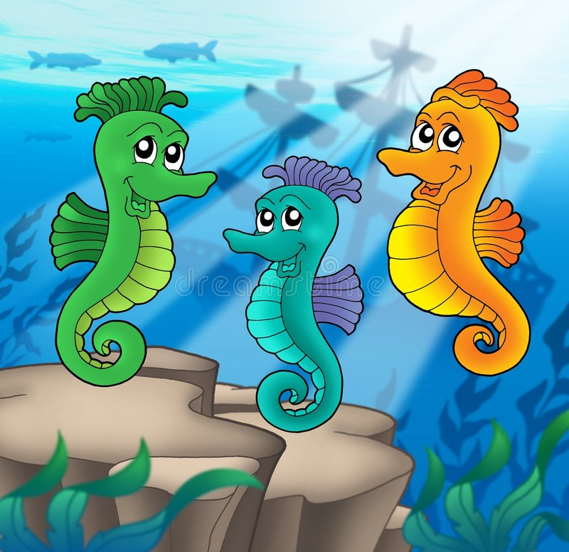 Sea horses family with shipwreck royalty free illustration