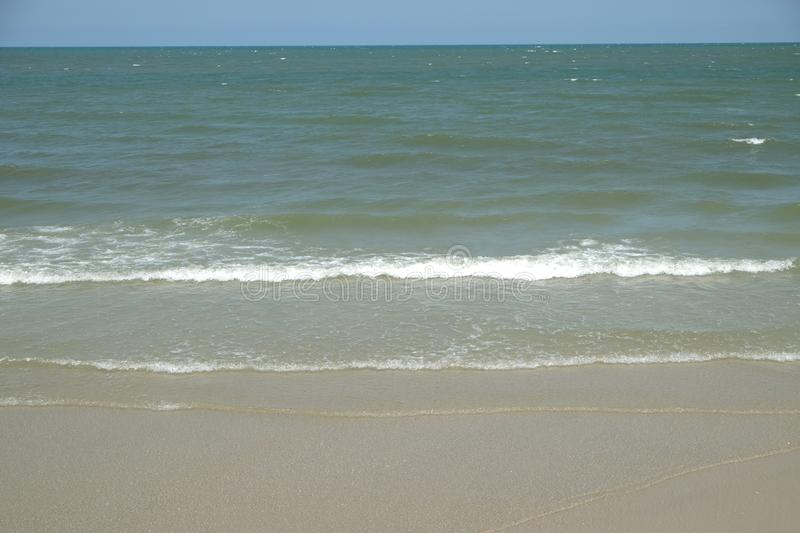 Sea of Hua Hin. The waves fluttered gently royalty free stock photos