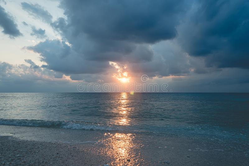 Sea at Huahin. Horizon line of the sea. tinted retro photo. Beautiful cloudy sky at dawn. calm the sea after a storm. Andaman and Nicobar Islands. Neil to royalty free stock photos