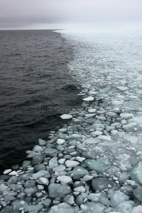 Sea-ice edge. The edge of sea-ice, the boundary of the polar region stock photo