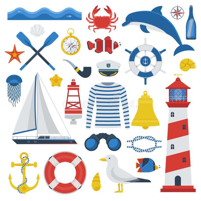 Sea Icon Set. Sea travel elements collection. Nautical vector icon set. Marine adventure equipment. Captain cap, lighthouse, dolphin, sailing ship, anchor stock illustration