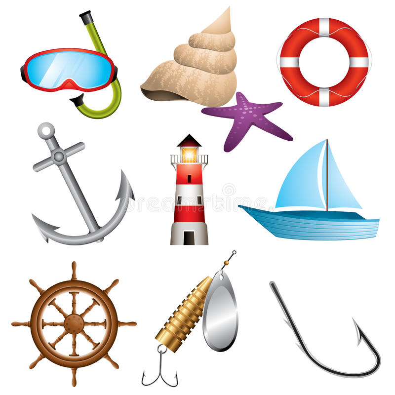 Sea icons. Set of 9 sea related icons vector illustration