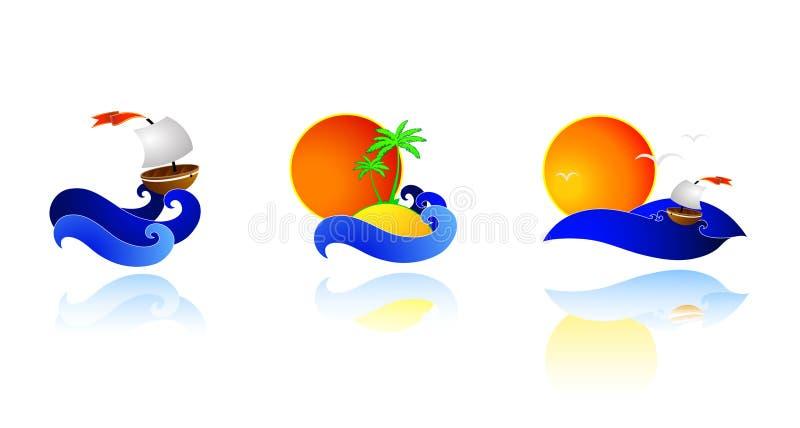 Sea icons royalty free illustration