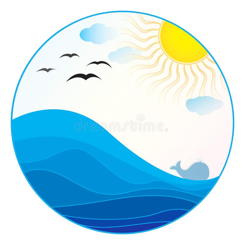sea illustration - summer logo royalty free stock photo