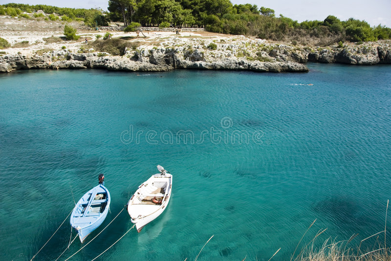 Sea Inlet and boats royalty free stock image