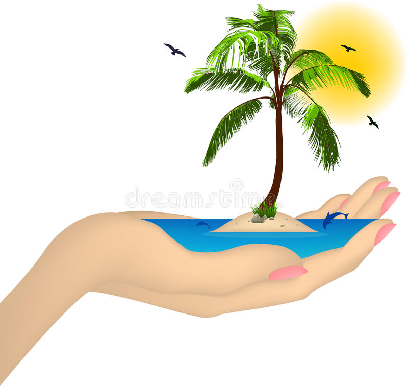 Sea ??island With Palm In A Female Hand. Vector Royalty Free Stock Image