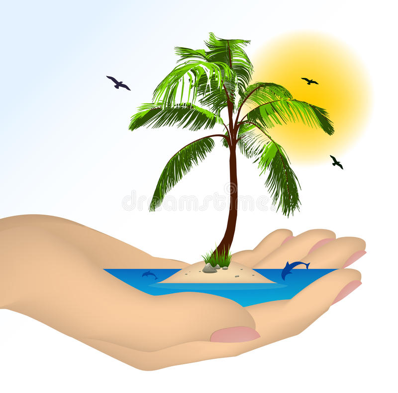 Download Sea Island With Palm In A Female Hand. Vector Stock Vector - Illustration: 30647247