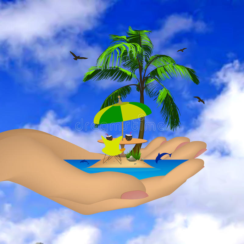 Download Sea ??island With Palm In A Female Hand. Vector Stock Vector - Illustration: 30703041