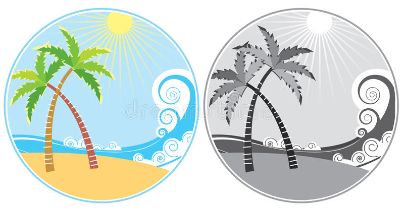 Sea and island.Summer icons royalty free stock photo