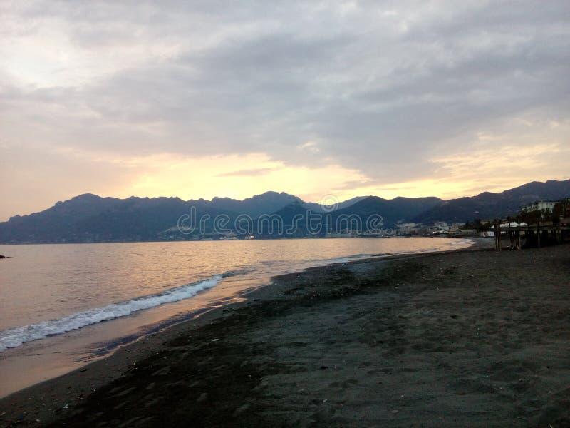 Sea of italian city Salerno royalty free stock photography