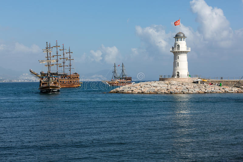 Sea journey on vintage sailships in Alanya, Turkey. stock images