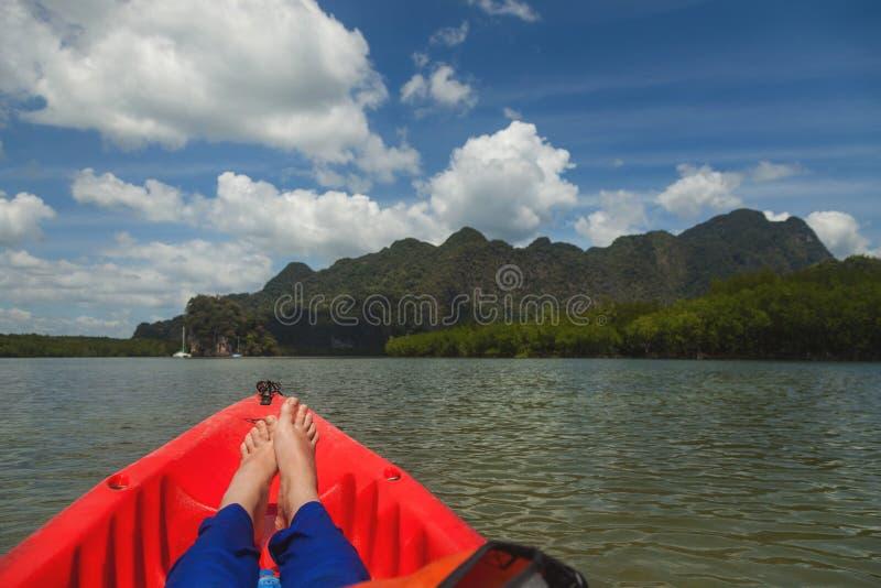 Sea Kayaking. Leisure. Concept travel. royalty free stock image