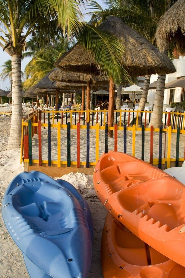 Sea Kayaks at Beach Resort Ready for Fun