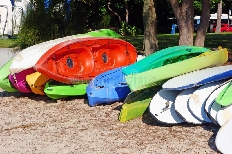 Sea Kayaks and Paddle Boards royalty free stock image