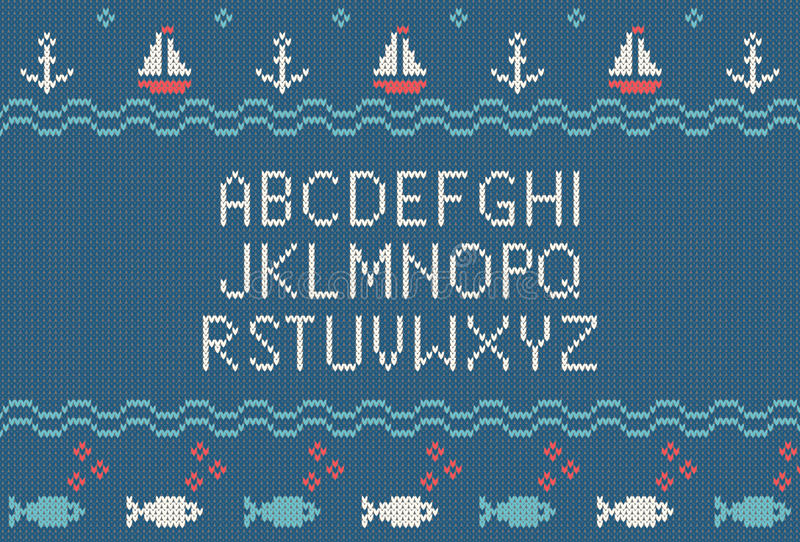 Sea knitted font. Knitted latin alphabet on sea theme patterns background. Woolen knitted texture. Nordic Fair Isle sweater design. Vector Illustration vector illustration