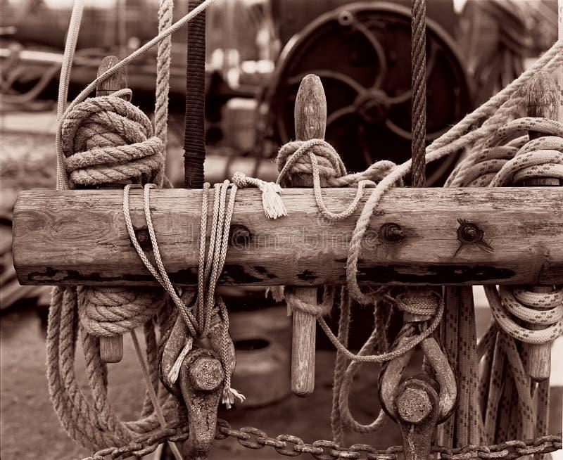 Sea knots, sea regatta, monochrome. Still life with sea knots. A fragment of the rigging of a sailing ship, sea regatta, monochrome royalty free stock images