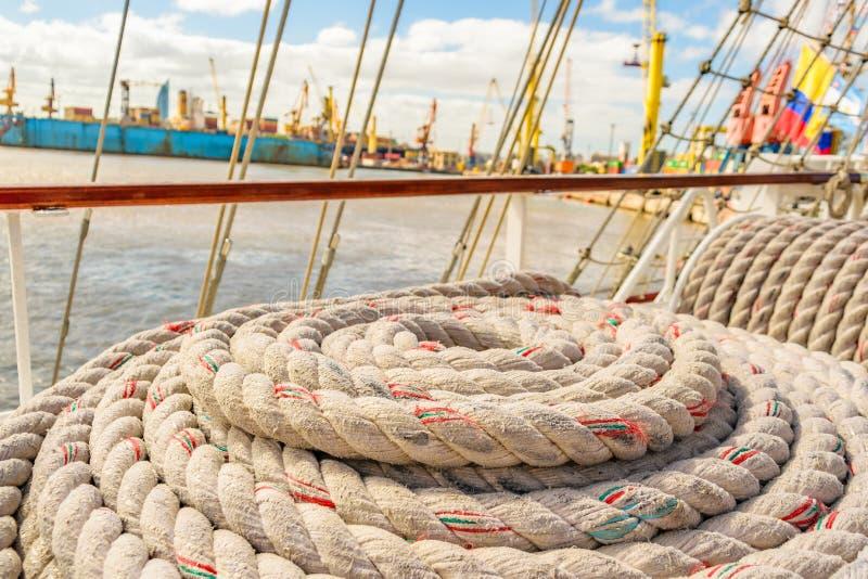 Sea Knots Ship at Port. Close up sea knots ship background photo royalty free stock photo