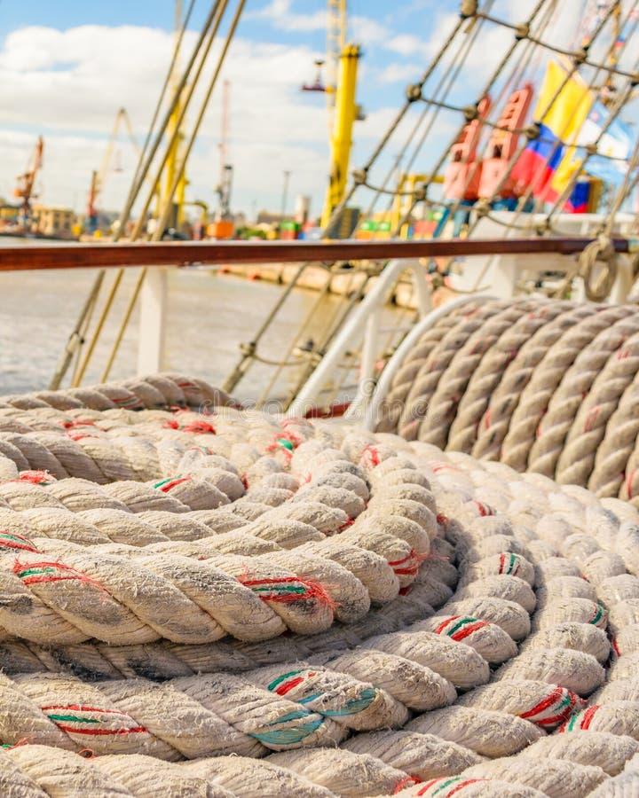 Sea Knots Ship at Port. Close up sea knots ship background photo stock photo