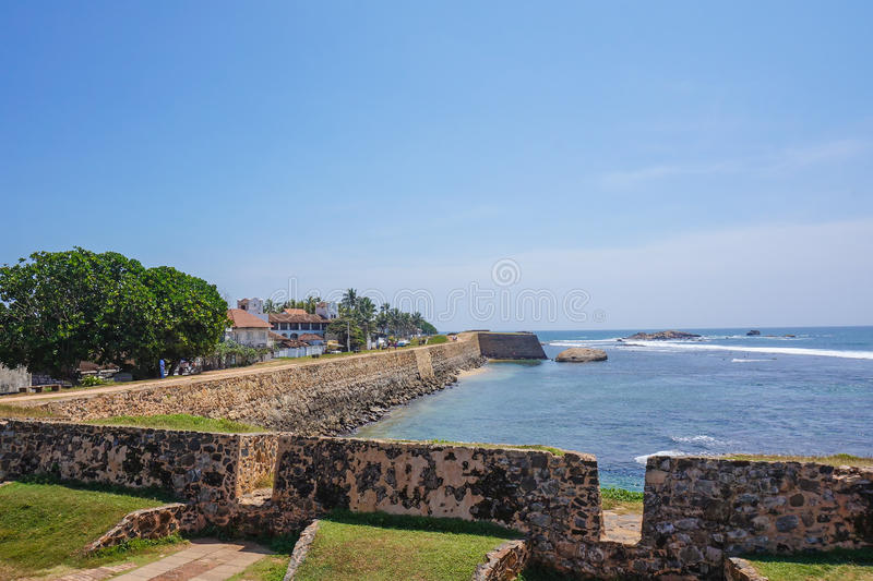 Sea lagoon, a scenic peninsula and the sunset view from the fortress of Galle Sri Lanka.  royalty free stock photo