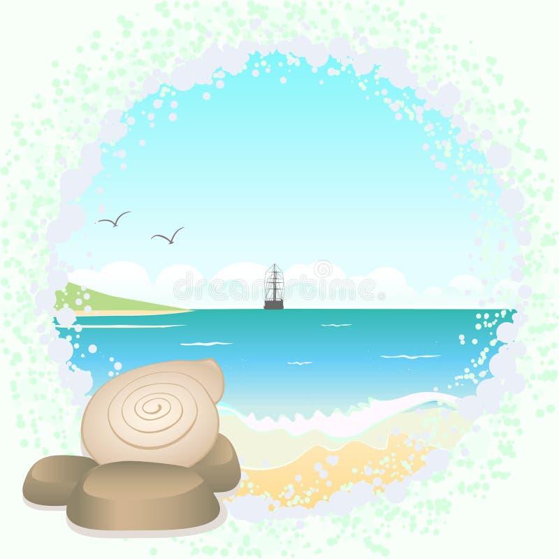 Download Sea landscape stock vector. Illustration of beach, coast - 21594084