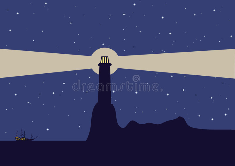 Download Sea landscape stock vector. Image of land, dusk, lighthouse - 8863371