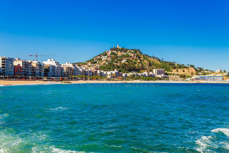 Sea landscape in Blanes, Catalonia, Spain near of Barcelona. Scenic town with nice sand beach and clear blue water in beautiful stock image
