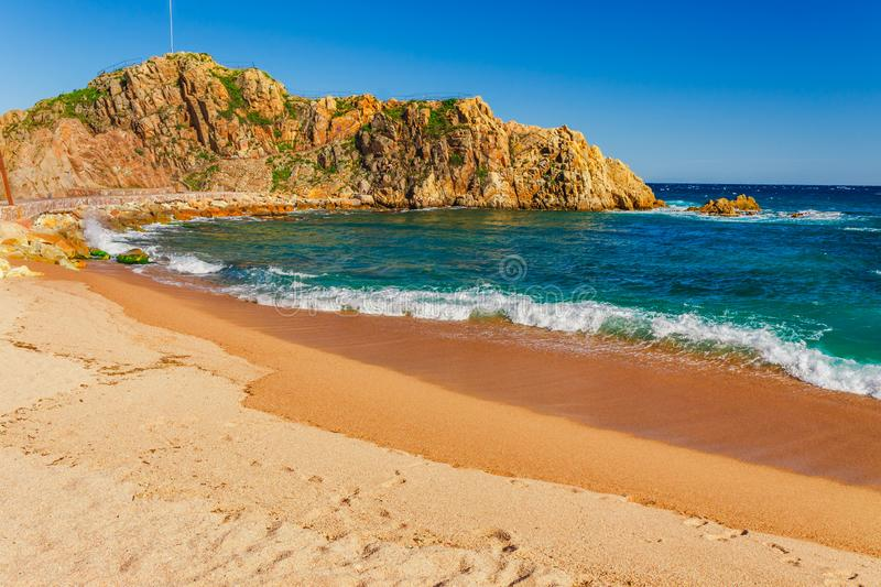 Sea landscape in Blanes, Catalonia, Spain near of Barcelona. Scenic town with nice sand beach and clear blue water in beautiful stock images