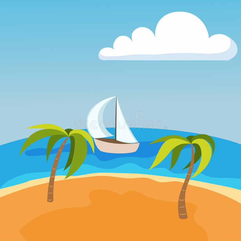 Sea landscape with boat on seychelles palm beach summer water beautiful background and tourism tropical beauty scene vector illustration