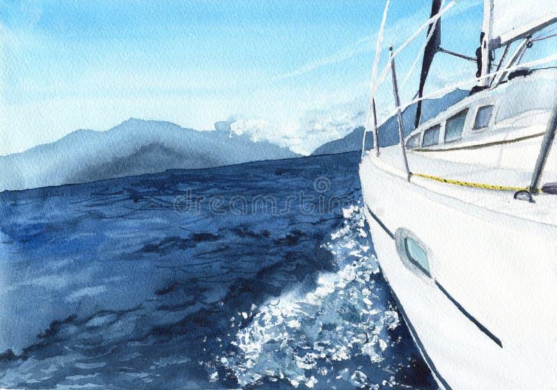 Sea landscape with boat. Watercolor illustration stock illustration