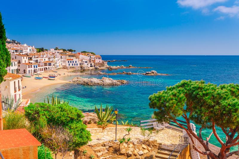 Sea landscape with Calella de Palafrugell, Catalonia, Spain near of Barcelona. Scenic fisherman village with nice sand beach and royalty free stock photo